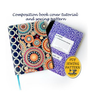 Composition book cover pattern and tutorial.